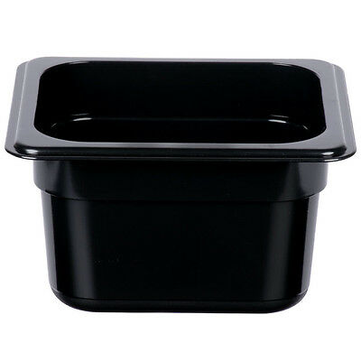12 Pack 16 Size Black Plastic Steam Prep Table Food Pan 4 Deep Polycarbonate