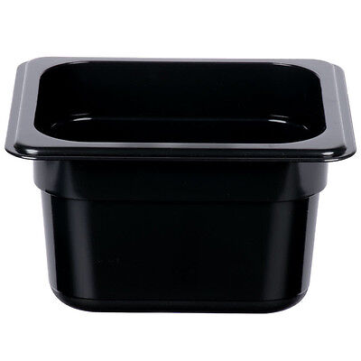 12 PACK 1/6 Size BLACK Plastic Steam Prep Table Food Pan 4