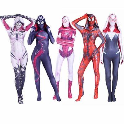 Spiderman Halloween Costume For Women (Spider Gwen Stacy Costume Venom Cosplay Girl Women Spiderman Jumpsuit)