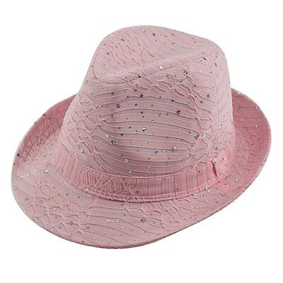 (LADIES SPARKLE FEDORA HAT--- PINK --- NEW -- LOWEST PRICE - NOW FREE SHIPPING)