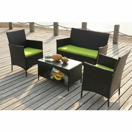 Garden Furniture - New 4pc Patio Furniture Set Outdoor Garden Rattan Sofa Wicker Cushioned Seat