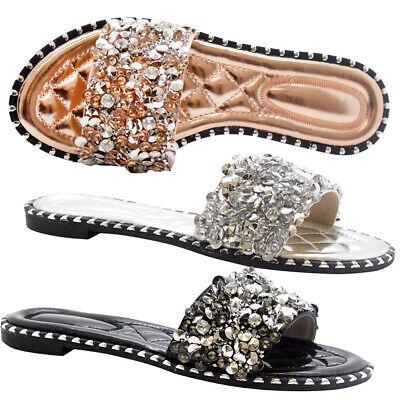 New Ladies Summer Sandals Women Flats Diamante Sliders Low Heel Studs Shoes Size