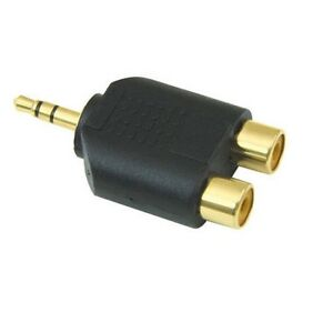 3.5mm Jack to 2 RCA Adaptor Twin Phono Y Splitter Stereo Male 2 x Female GOLD