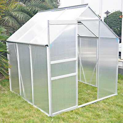 6x6ft - Silver Aluminium Framed Polycarbonate Greenhouse Free Base Sliding Door