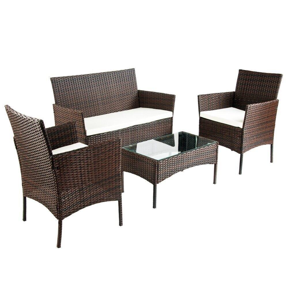 SALE!! Brown 4-Piece Rattan Cube Garden Furniture Set   in ...