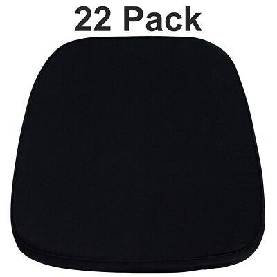 22 Pk. Soft Black Fabric Chiavari Chair Cushion