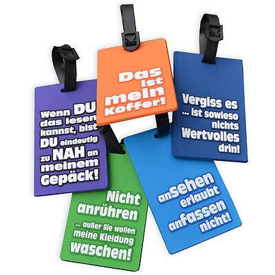 5 x Kofferanhänger Kofferschild Gepäckanhänger mit witzigen Sprüchen Leuchtfarbe