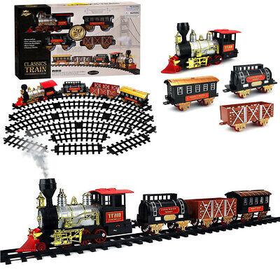 Electric Operated Christmas Train Kid Toy Sound Smoke Around Xmas Tree Track Set