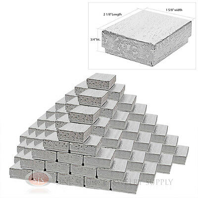100 Silver Foil Cotton Filled Jewelry Gift Boxes 2 18 X 1 58 Charm Pendant