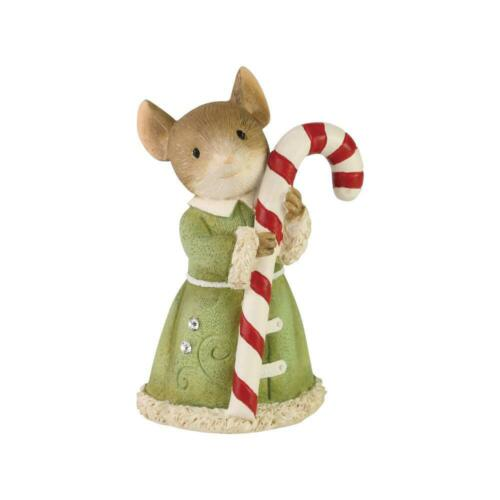 Enesco Tails with Heart SWEET TREAT Mouse with Candy Cane Christmas Figurine