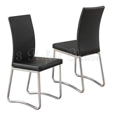 Modern 2 pc Black Faux Leather Upholstered Dining Side Chair High Back Metal Leg