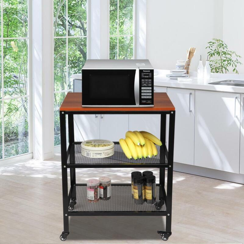 3Tier Kitchen Microwave Oven Stand Rack Baker Shelf Storage Cart Counter Cabinet