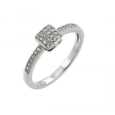 Sterling Silver Ladies Micro Pave CZ Stones Square Ring  Cz Square Pave Ring