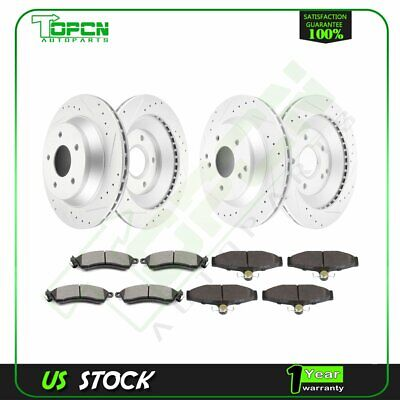 Front and Rear Brake Discs Rotors Ceramic Pads For Chevy Corvette 1988 - 1995