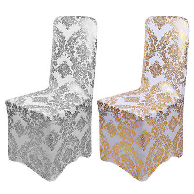 1-100Pcs Wedding Bronzing Chair Cover Elastic Spandex Banquet Hotel Home Supply ](Banquet Supplies)