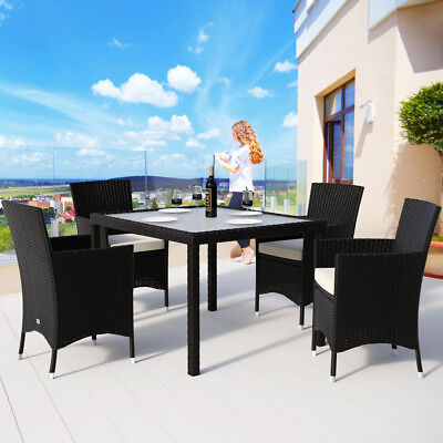 Poly Rattan Garden Furniture Set Outdoor Dining Table Chairs Conservatory Patio
