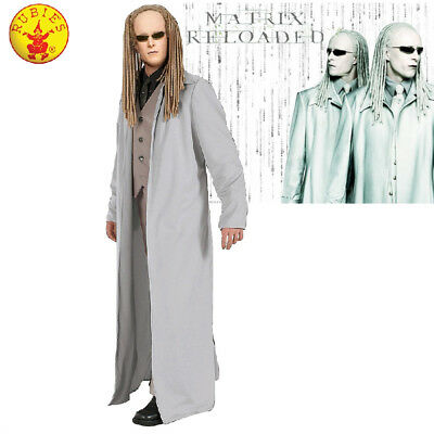LICENSED MENS MATRIX THE TWINS MOVIE COSTUME ADULT HALLOWEEN COAT & GLASSES - Twin Halloween Costumes Adults