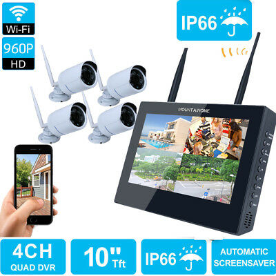 "WiFi CCTV 4CH 10"" TFT LCD NVR HD IP Camera Wireless Security System Night Vision"