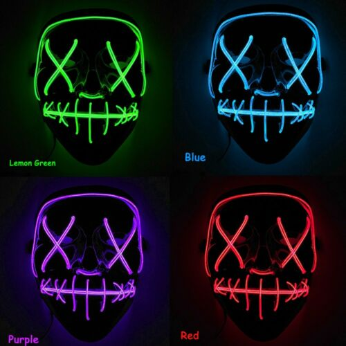 "Light Up Mask ""Stitches"" LED Costume Mask Halloween Rave Pur"