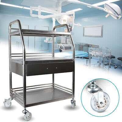 Stainless Steel Silver 3 Layers Laboratory Cart Trolley Omnidirectional Lockable