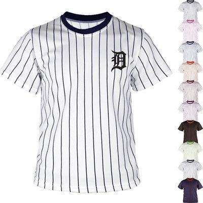Detroit Tigers Uniform (New Detroit Tigers Striped Baseball Jersey T-Shirts Tee Uniform Dry Cool 0102)