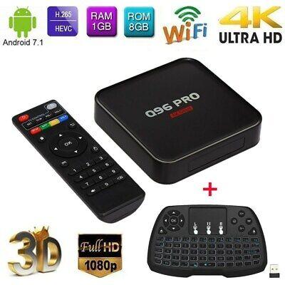 Q96 PRO 1G/8G Android 7.1 Smart TV Box S905 Quad Core WiFi Media 4K 3D Keyboard