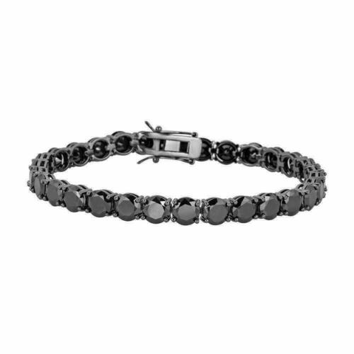 "Mens Tennis Bracelet 925 Silver 7mm Man Made Black Diamond Tennis Bracelet 8.5"""