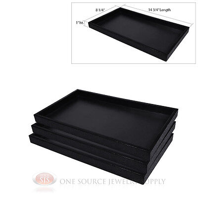 3 Black Plastic Display Sample Tray Jewelry Organizer Travel Stackable Trays
