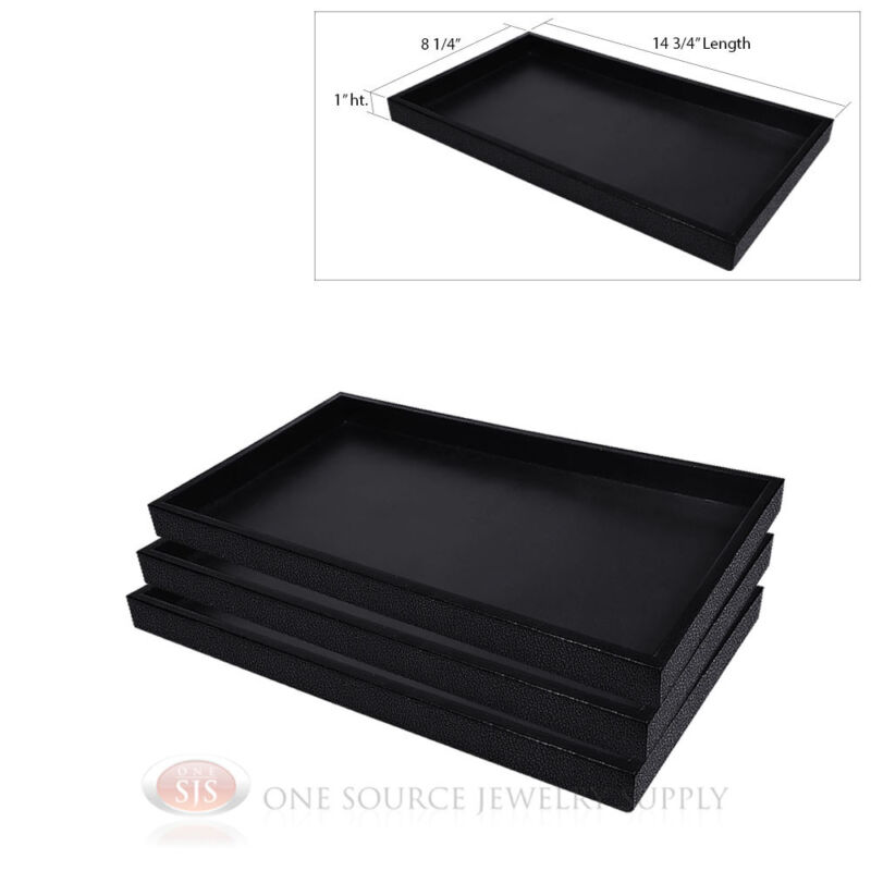 (3) Black Plastic Display Sample Tray Jewelry Organizer Travel Stackable Trays
