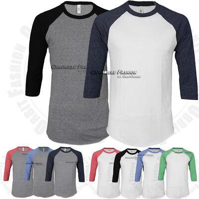 Tri Blend Raglan 3/4 Sleeve Baseball T Shirt Cotton Slim Fit Casual Crewneck Tee