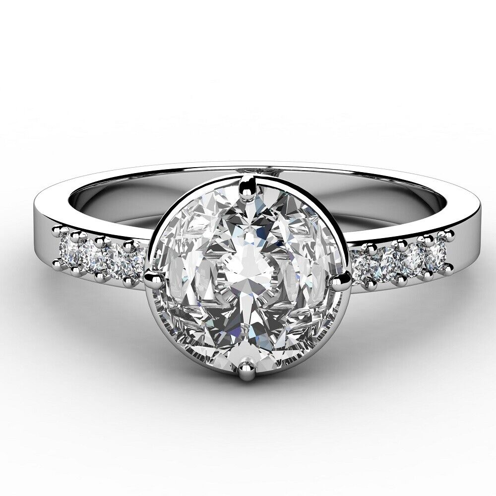 Natural GIA Certified Diamond Engagement Ring 0.86 Carat Round Cut 18k Gold
