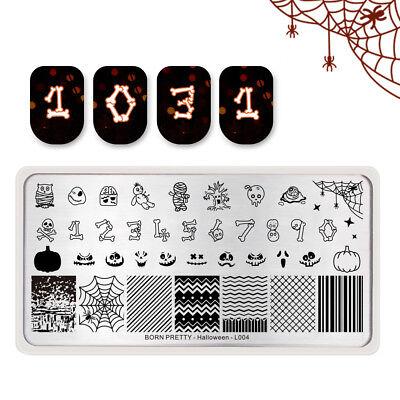 BORN PRETTY Nail Art Stamping Plates Pumpkin Bone Stripe DIY Halloween Day L004 (Halloween Nail Art Diy)