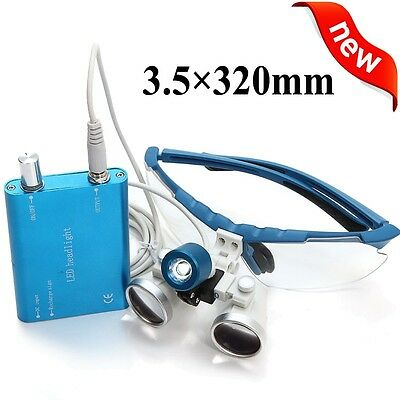 Blue Dental Loupes 3.5x 320mm Surgical Medical Binocular Led Head Light Lamp