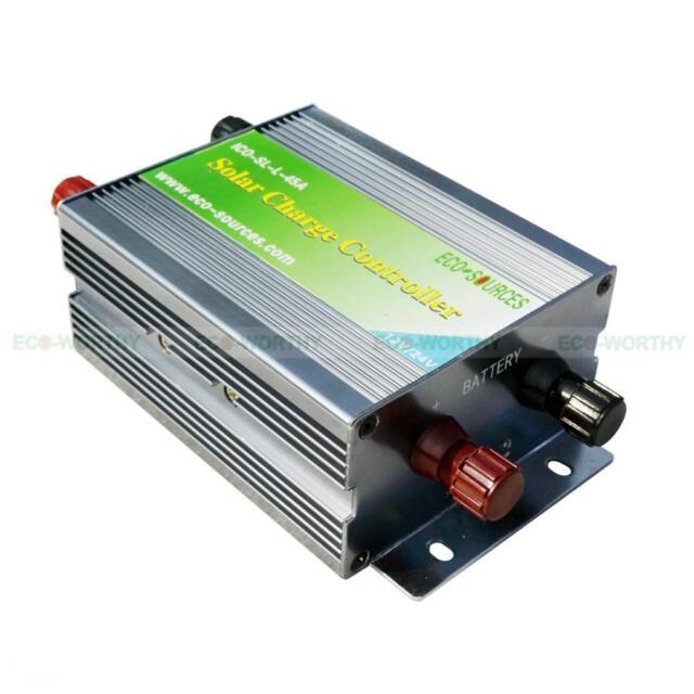 45A Solar panel Charge Controller Regulator 12/24V Battery charging PWM Aluminum