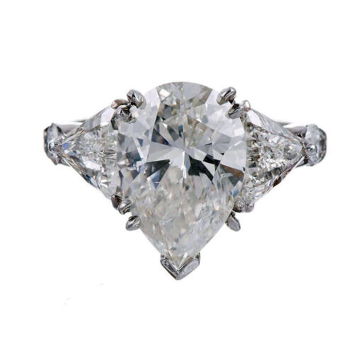GIA Certified 3 Stone Design Pear Shape Diamond Engagement Ring 1.50CTW
