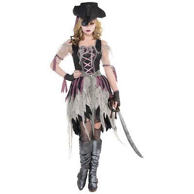 Geisterpiratin Kostüm für Damen Damenkostüm Piratin Halloween Kleid Hut - Geist Kostüm Für Damen
