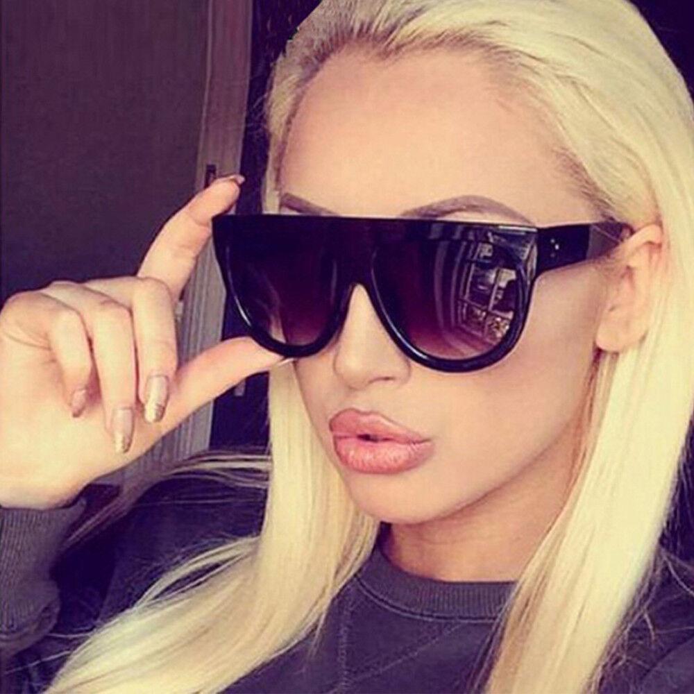 1f626d5b14ba Stylish Black Flat Top Shadow Oversized Women Ladies Men Designers  Sunglasses