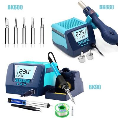 Digital Smd Soldering Station Iron Hot Air Heat Gun Desoldering Rework Station
