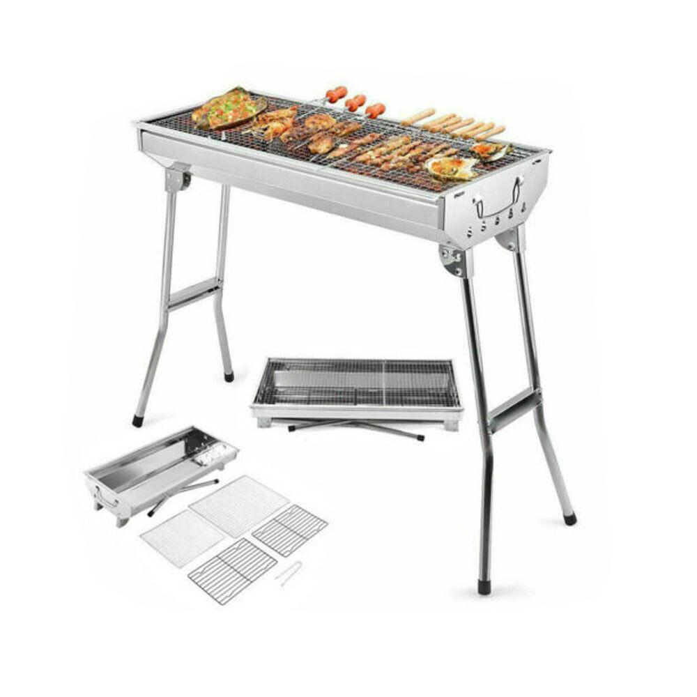 stainless steel bbq smokeless grill portable folding
