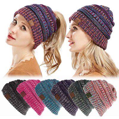 Damen Gestrickte Mütze Wolle Hut mit Zöpfen Loch Loop Winter Warm Strickmütze ()