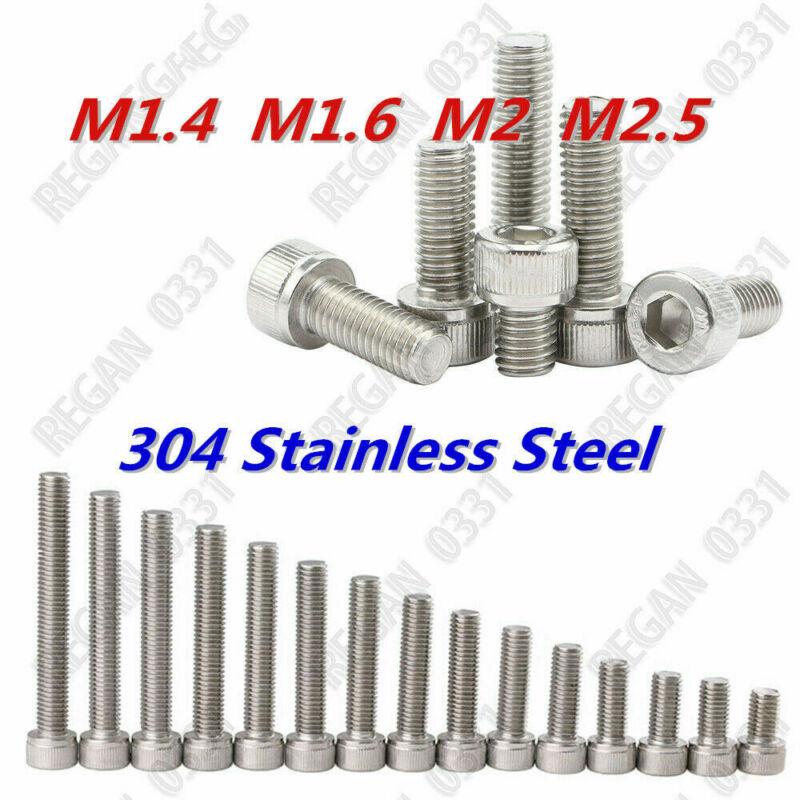 100pcs M1.4 M1.6 M2 M2.5 Stainless Steel Hex Socket Cap Head Screws Bolts DIN912