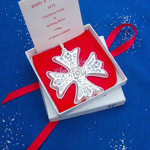 NEW • Reed & Barton 1975 CHRISTMAS CROSS Sterling Silver Ornament 5th Edition