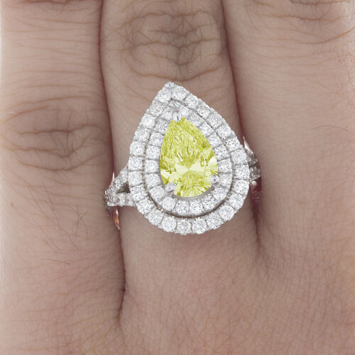 Estate Antique Style GIA 2.75 CT Fancy Intense Yellow Radiant Diamond Engagement