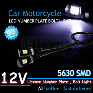 Motorcycle 12V LED Number Plate Light Bolts Fit Harley Davidson Trike 5630 SMD