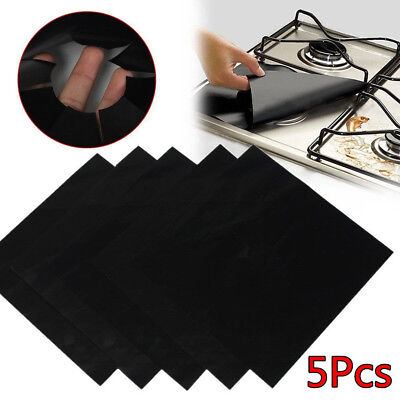 5Pcs Reusable Gas Range Stove Top Burner Protector Liner Cover For Cleaning ()
