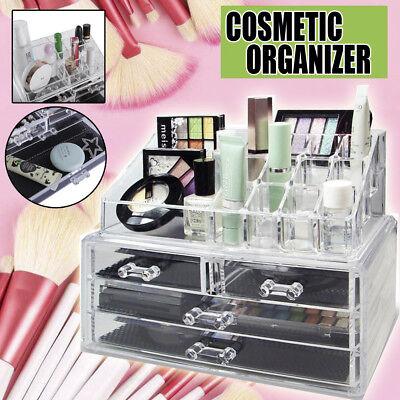Acrylic Cosmetic Organizer Makeup Case Holder Jewelry Storage Box w/ 4 Drawers