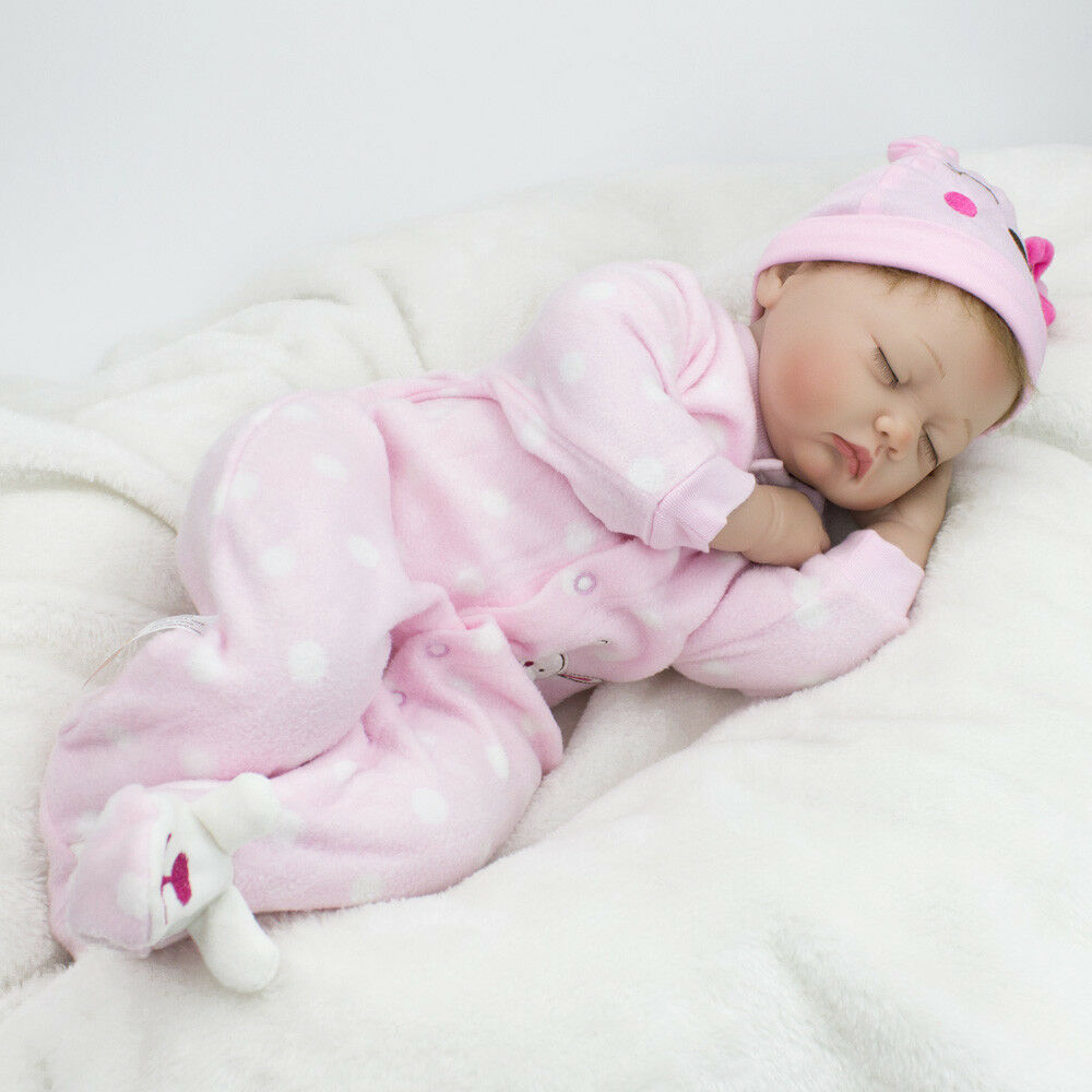 Silicone Reborn Baby Sleeping Newborn Doll Lifelike Reborn Doll Pink Purple Blue