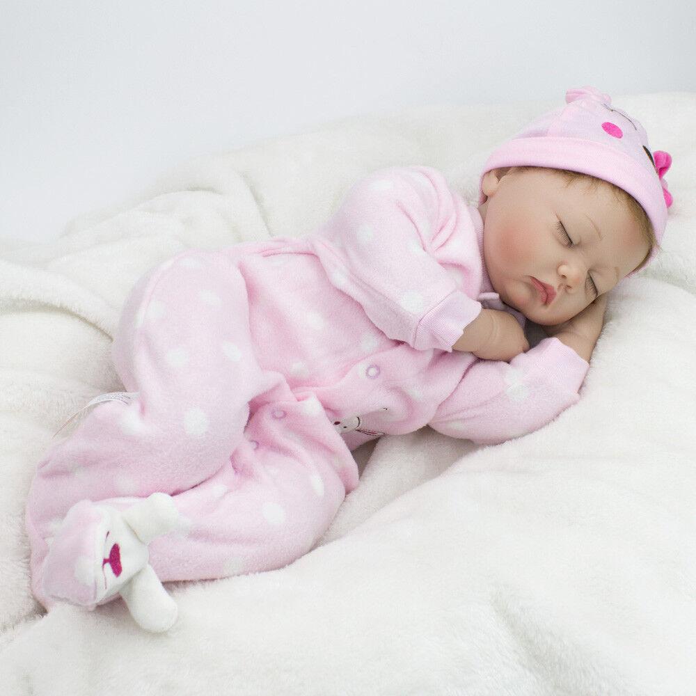"22"" Handmade Baby Girl Doll Lifelike Vinyl Silicone Reborn Newborn Dolls+Clothes"