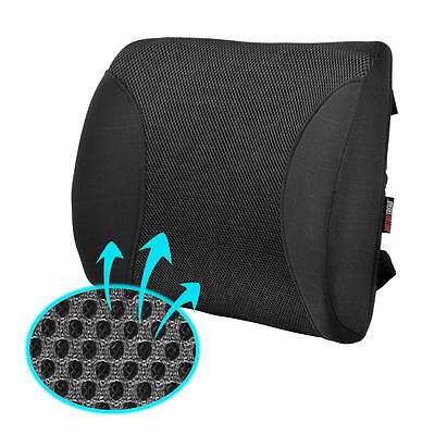 Lumbar Pillow Cushion for Car Office Home Mesh Breathable Black Back Support