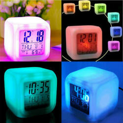 Colorful LED Digital Glowing Alarm Clock Night Light Cube Clock Home Kid Bedroom